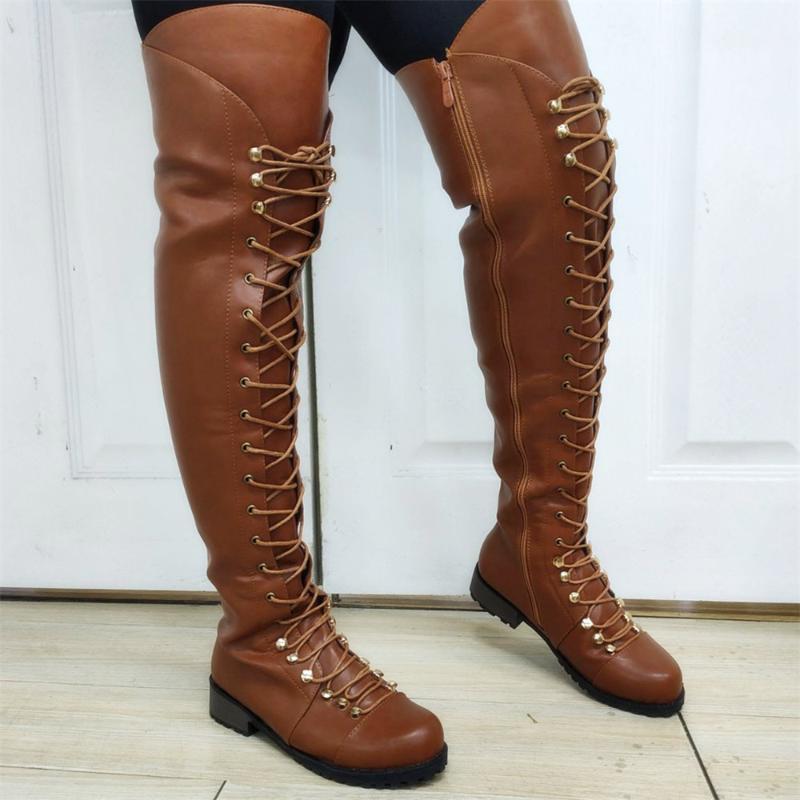 Fashion NEW SO Vente chaude pour Dropship Grande Qualité Gothic Chunky Talons sur-the-gene Bottes Femmes Chaussures Noir Brun Chaussures