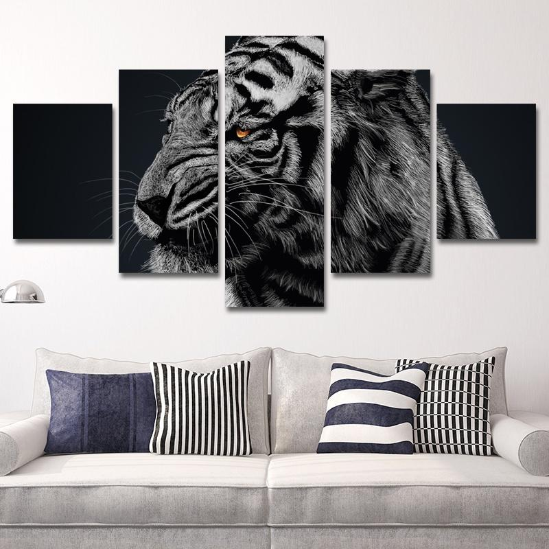 Modern Frames For Painting Modular Cheap Pictures 5 Panel Animal Tiger Wall Art For Living Room Home Decor Artwork Canvas Prints