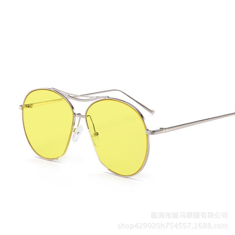 Alliage complet cadre lunettes de soleil femmes lunettes de soleil hommes vintage rétro demi-rond semi-roid couleur lunettes de soleil
