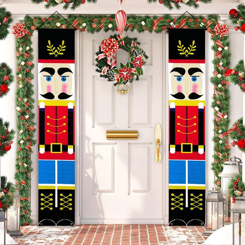 Noisette Soldat Soldat Banner Décor de Noël pour la maison Joyeux Noël Porte Décor Noël Ornement Bonne année 2021 Navidad 201128