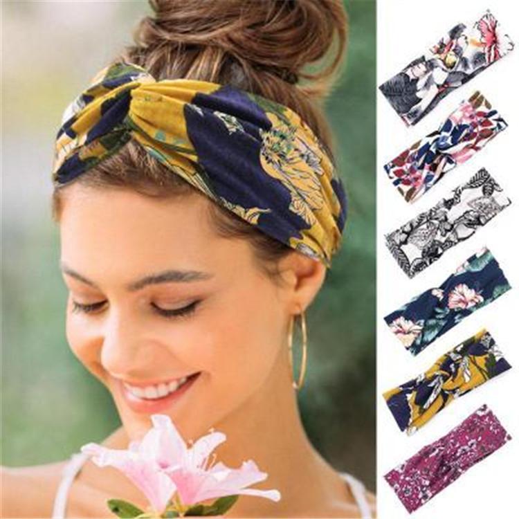 Tasarımcı kadın Yoga Spor Saç Bantları Charm Çiçek Çapraz Hairband Baskılı Düğüm Kafa Geniş Brim Saç Aksesuarları