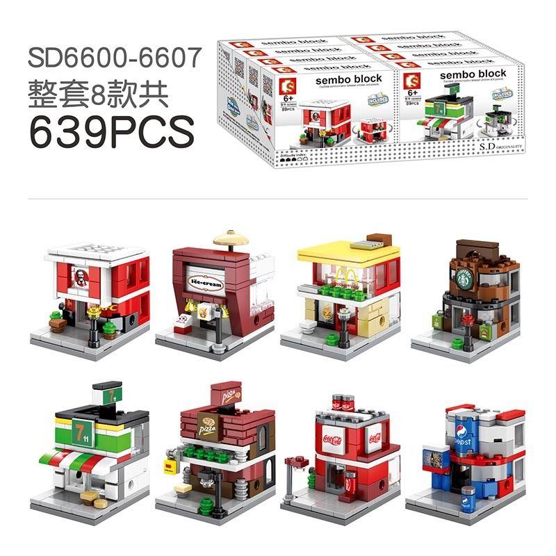 Sembo 8 في 1 ميني مدينة ستريت عرض اللبنات زهرة الجمال متجر نموذج عدة مجموعات الطوب ألعاب تعليمية للأطفال هدايا LJ200928