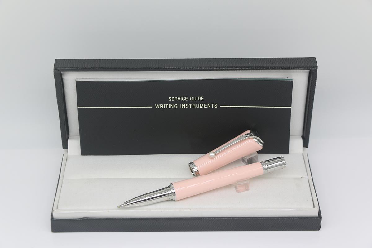 Hoher Qualität Rollstift Rosa Körperfarbe mit silberner Zierleiste und weißer Perlenbüro Schule Lieferungsgeschenkstift