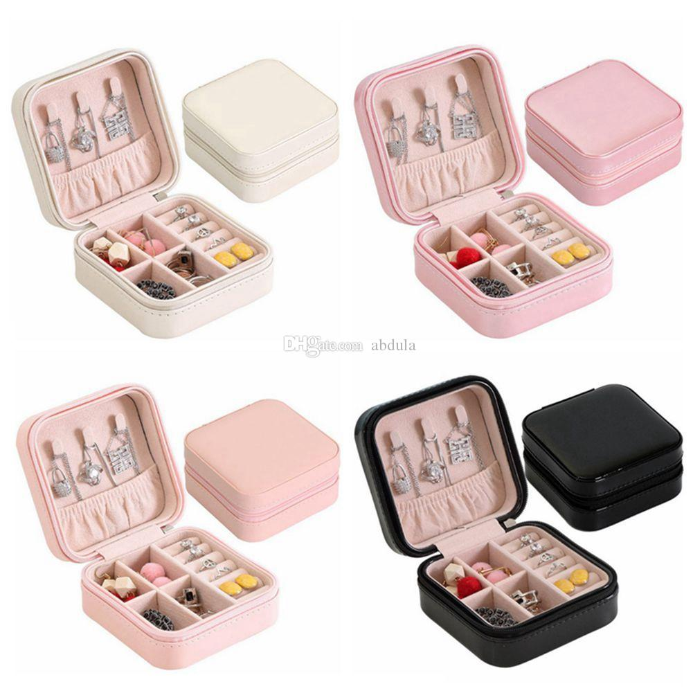 Jewelry Storage Box Portable Travel Storage Boxes Organizer PU Leather Display Storage Case Necklace Earrings Ring Jewelry Holder Gift Box