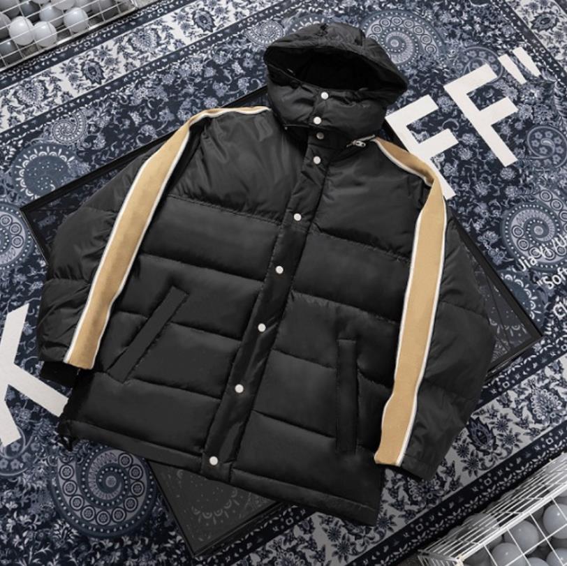 Uomo Moda Down Coat Winter Vendita calda Vendita ad uomo Giacche a maniche lunghe stampato con uomo con cappuccio Donne Donne Abbigliamento moda Parka Parka Riflettente