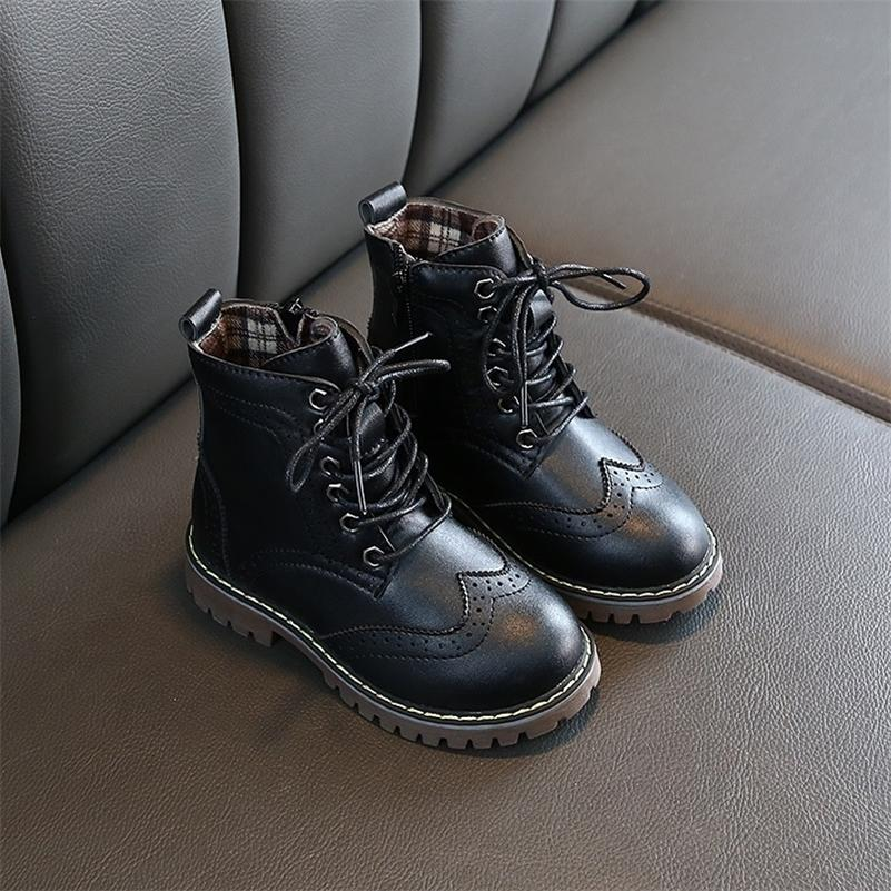 autumn winter girls black motorcycle boots shoes fashion size 26-36 big girls martin boots comfortable inner kids bota shoe 201113