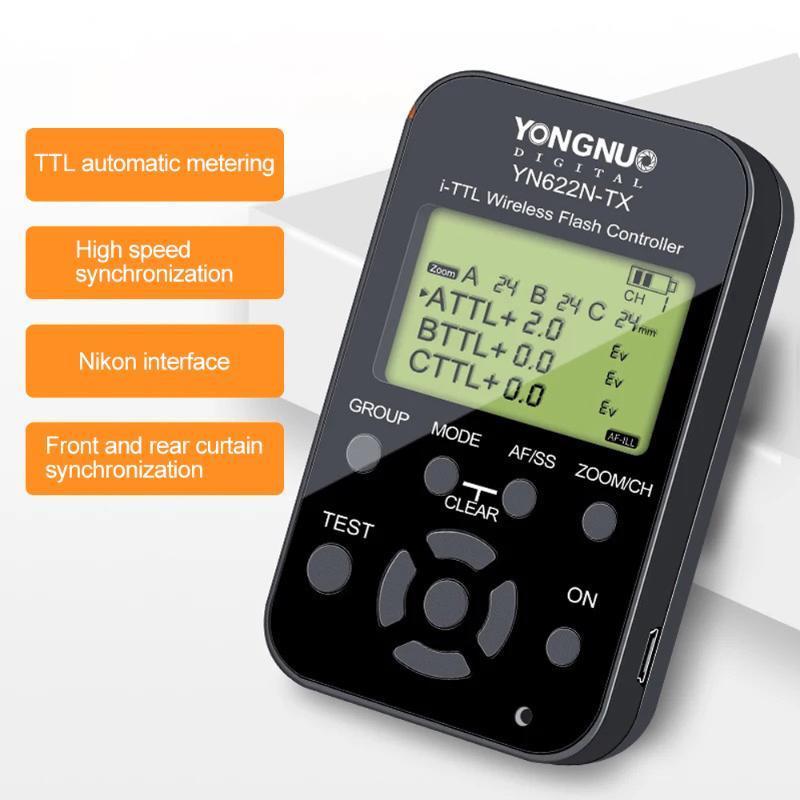 KIT YONGNUO WirelessL Flash gatilho YN622 YN-622C II C-TX com sincronização de alta velocidade HSS 1 / 8000s para a Câmara 500D 60D 7D 5DIII