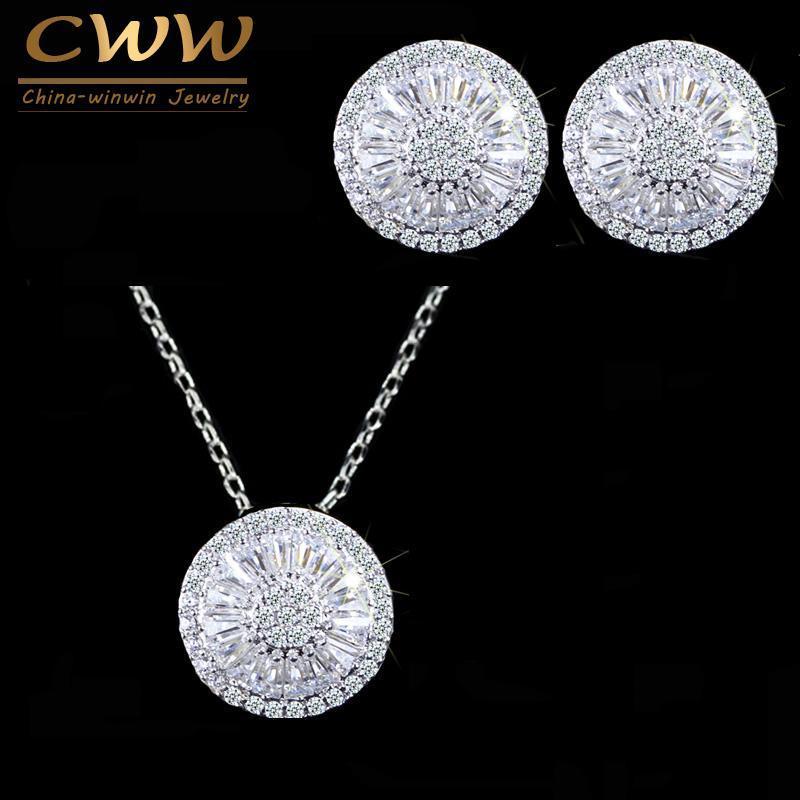 CWWZircons superiore della CZ di cristallo Donne Fashion Jewellery rotondo lucido T039 cubico zircone collana e set monili dell'orecchino
