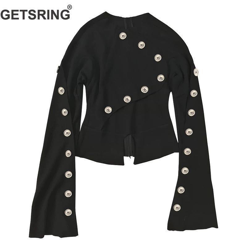 GETSRING Женщины пальто с длинным рукавом Multi-Buttons женщин куртки Нерегулярные Тонкие Сыпучие Верхняя одежда женщин Топы черные куртки, ветровки 201013
