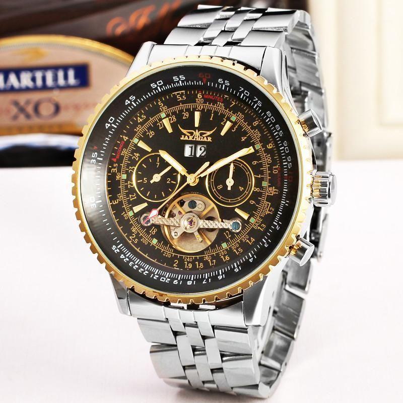 Jaragar Tourbillon большой циферблат автоматически механические часы мужчины полная из нержавеющей стали победитель золотой сам ветер часы маховик подарочная коробка1