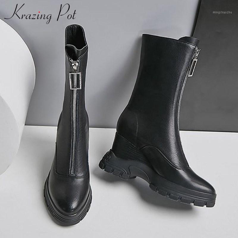 Krazing Topf Schwarze Farben Keile Dicke Boden Echtes Leder Runde Zehe Hübsche Reißverschluss Winter Frauen Halten Sie warme Mid-Calf Boots L201