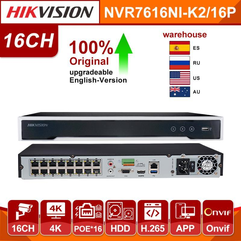 Origina HikVision NVR DS-7616NI-K2 / 16P 16CH H.265 4 K 8MP POE NVR IP Kamera Desteği için İki Yönlü Ses Güvenlik Sistemi