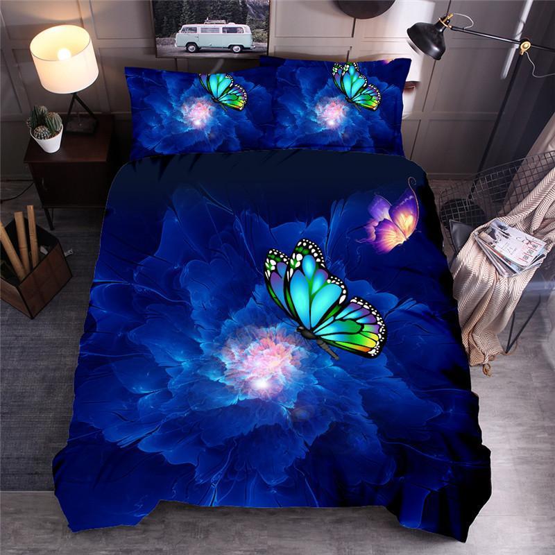 Blue Butterfly letto di lusso stampata fiore Copripiumino Set regina re Quilt Cover Lenzuola