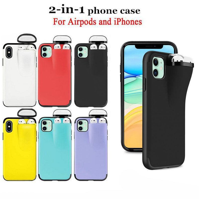 2 in 1 Phone Case einheitlichen Schutz für Airpod Handy Designer Anti-verloren-rückseitige Abdeckung für iPhone 12 11Pro max X XR Xs max 6 7 8 und DHL