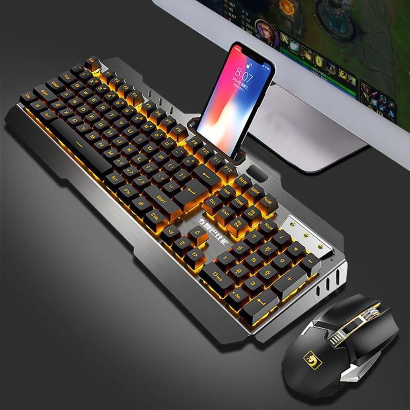 EastVita Wireless-Mechanische Tastatur und Maus-Spiel Set Wiederaufladbare mit Hintergrundbeleuchtung für Gaming r30