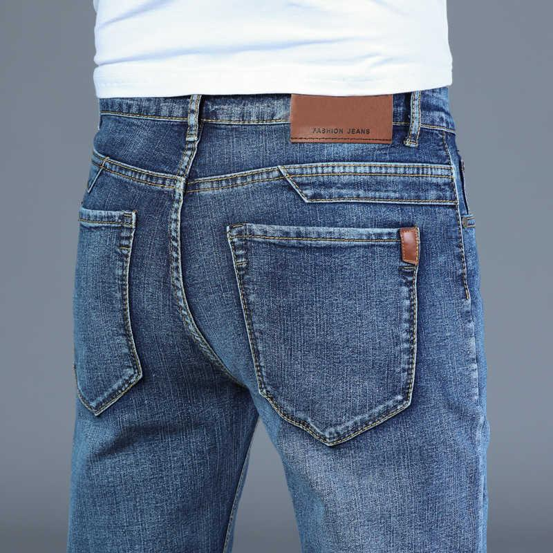 Весна осень 2021 мужские умные джинсы бизнес мода прямой обычный синий растягивающие джинсовые брюки классические мужчины плюс размер 28-40