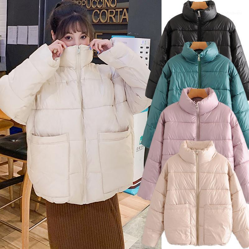 Abrigo de invierno mujeres 2021 moda chaqueta de invierno mujeres algodón acolchado parka outwear con capucha 4 colores sólido mujer chaqueta abrigo