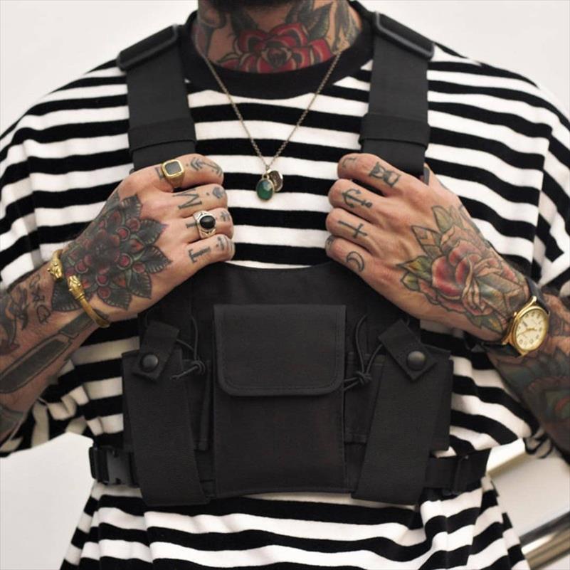 Unisex Moda Göğüs Rig Bel Çantası Erkekler Hip Hop Streetwear Fonksiyonel Taktik Göğüs Çanta Casual Seyahat Çapraz Vücut Omuz Çantaları