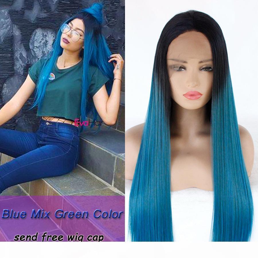 Синий смешанный зеленый Ombre цвет парика шелковистые прямые Синтетический волос фронта шнурка парики жаропрочных синтетических волос парик шнурка для женщин парики для косплея