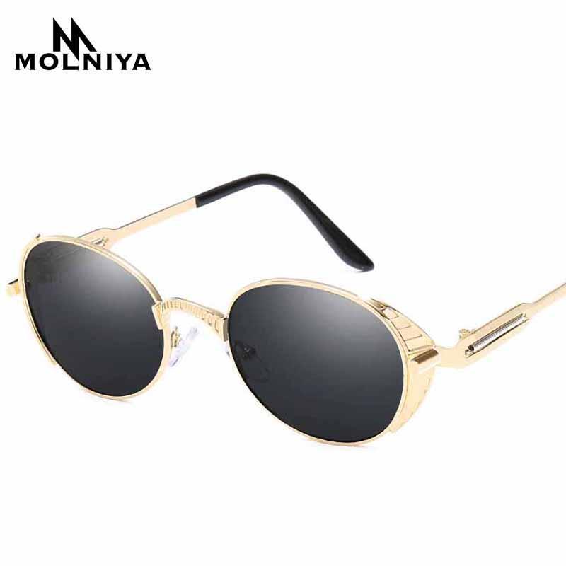 Molniya Las novedades 2020 Espejo Lente redonda vidrios de los anteojos de Steampunk Gafas de sol retro para hombres y mujeres Hisper Gafas