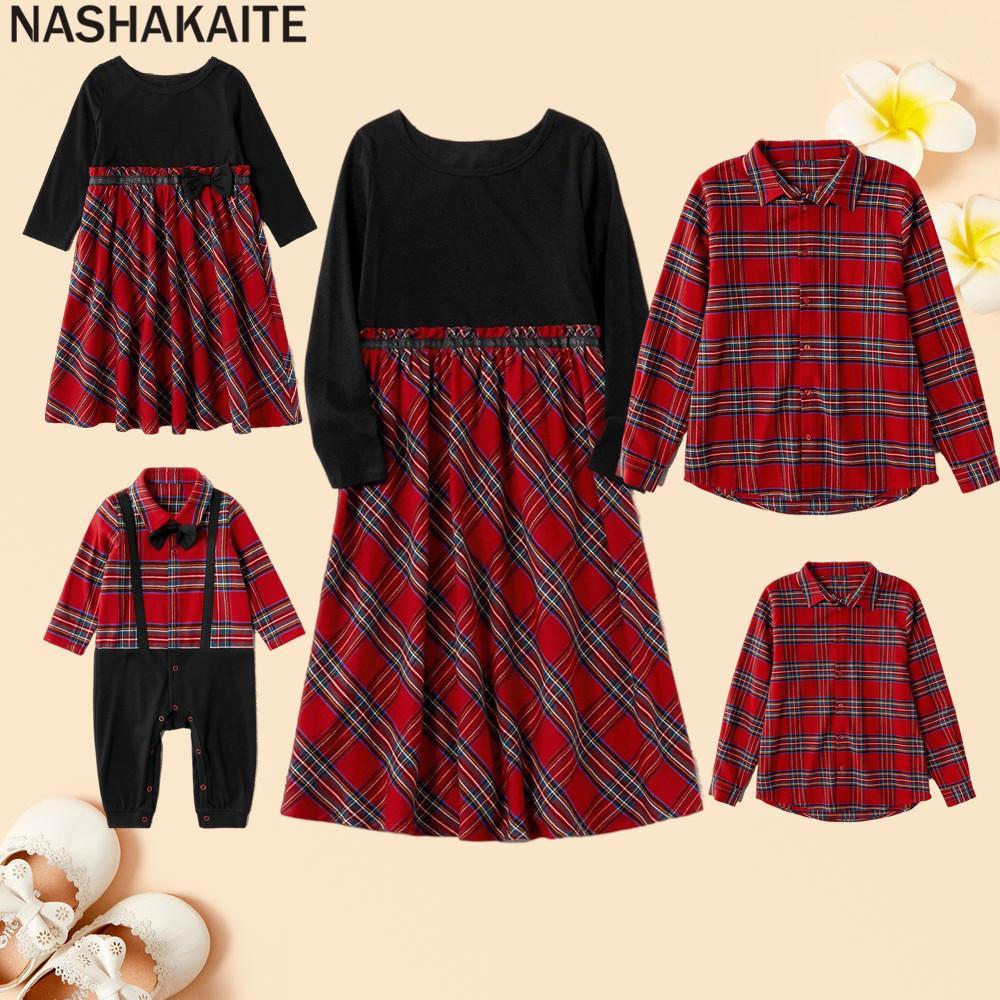 NASHAKAITE FAMILIAR FAMILIA ROPA DE AMPLIO PLAID rojo Mamá Hija Vestido Navidad Pijamas Kits Familiares Necktie Baby Ramper Familia Familia 201128