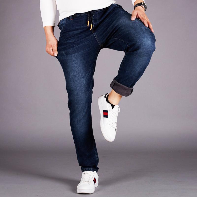 Diseño clásico para hombre Stretch Denim Jeans elástico de la cintura de los pantalones vaqueros de spandex más el tamaño 5XL 6XL 48 Regualr Fit