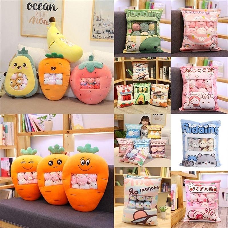 Eine Plushie-Tasche Pudding Spielzeug Mini-Tiere Bälle Puppe Sakura Bunny Pig Hamster Pinguin Früchte Erdbeer Bananen Candy Bag für NAP 201212