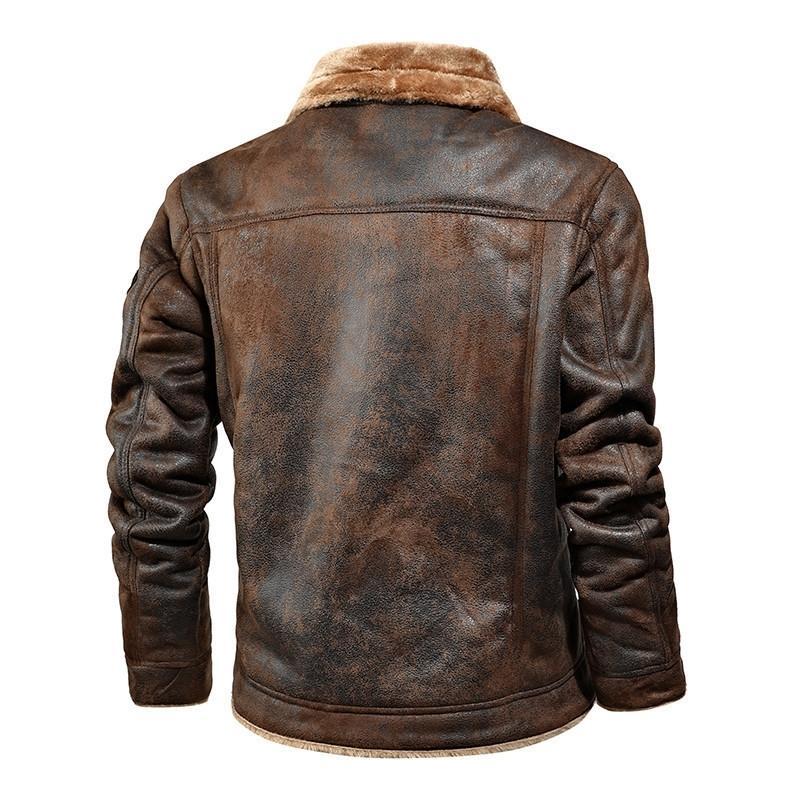 Yeni erkek Deri Ceket Gençlik Erkek Artı Kadife Yaka Moda Motosiklet Tops Sonbahar Kış Sıcak PU Faux Kürk Ceket Erkekler 201120
