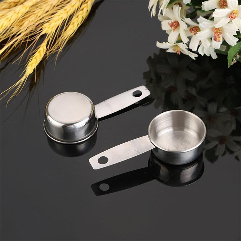 304 Paslanmaz Çelik Ölçüm Kaşık Mutfak Pişirme Araçları Kahve Çekirdekleri Ölçüm Fincan Süt Toz Kaşık 30ml WQ579