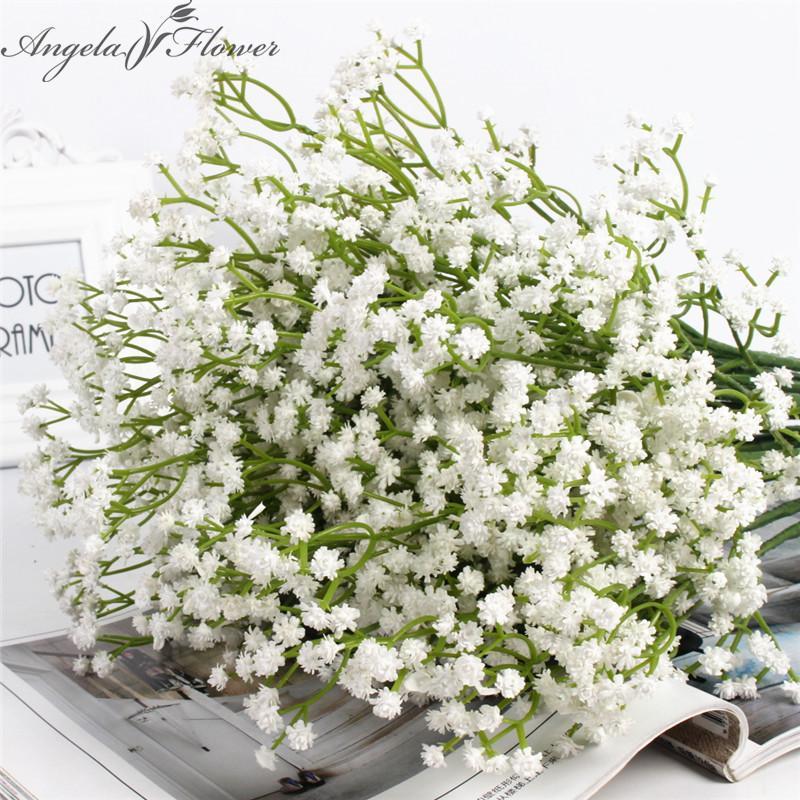 LIVRAISON GRATUITE 58cm artificiel rustique Bébé à couper le souffle Flower PU Mariage Fleur Décor pour la fête de la maison Cadeau de Noël Gypsophila 21 PCS 201127