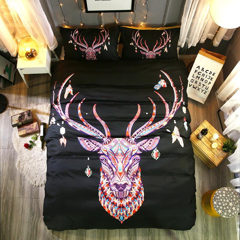 3d Bettbezug-Set Königin Tier Bohemian Druck Bettwäsche Set Pillowcase Bedspreads Quilt Cover Size Bett Linie
