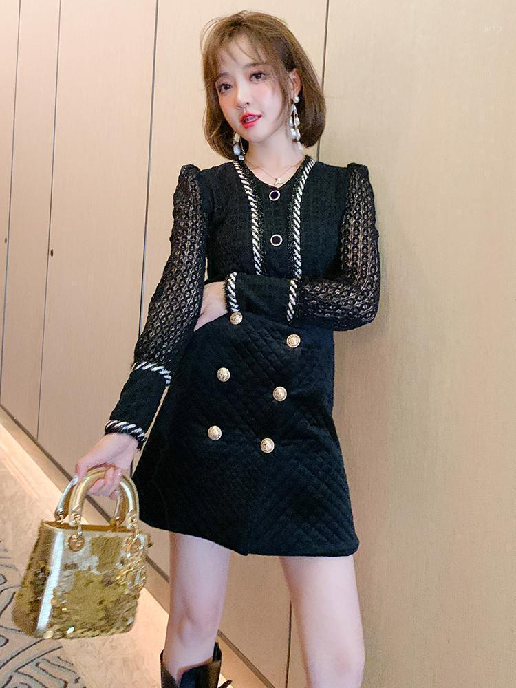 Fashion temperament elegant velvet double-breasted irregularly split skirt skirts new high-end women's clothing in winter1