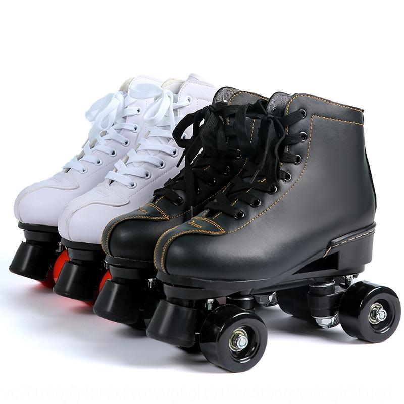 Chaussures de patinage en cuir noir et blanc F7q