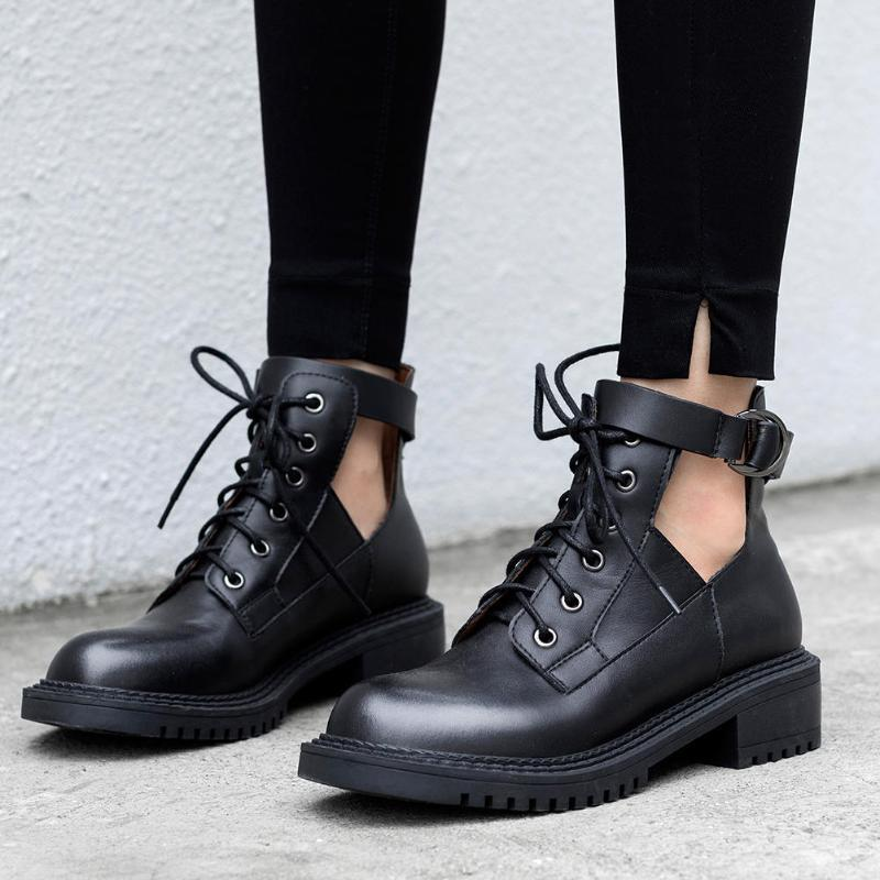 DORATASIA Frauen-feste Art und Weise Marke Schuhe Casual Tägliche Boots Frauen Brogue runde Zehe schnüren sich oben Platz Absatz Stiefeletten