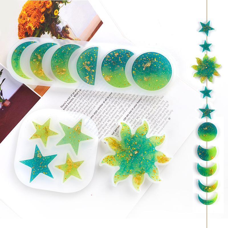 DIY EPOXY Résin Silicone Moules Star Sun Moule Moule manuelle Ornement manuel Moule Blanc Transparent Nouveau 2 5HJG G2