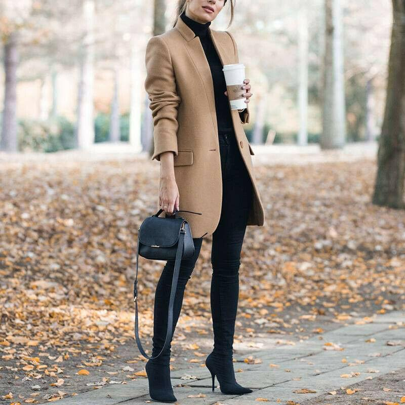 New Wool Blend Coat 2019 Autumn Casual Woman Slim Long Overcoat Elegant Stand Collar Single Button Female Outwear Trench DA5071