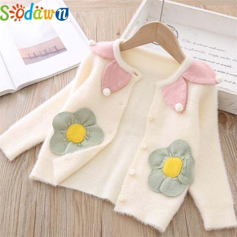Содуск ребёнок свитер детский цветок карманный печатный свитер девушка одежда сладкий малыш детская одежда весна осеннее пальто unewwear lj200818
