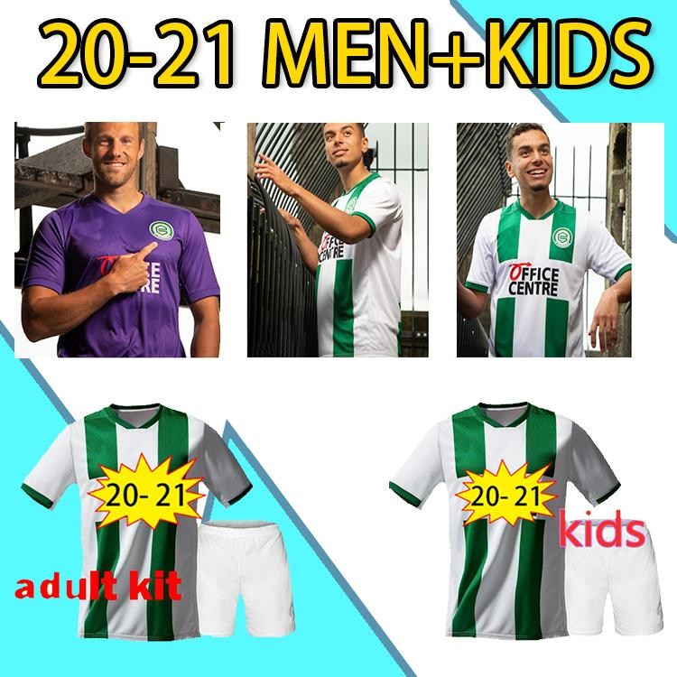 20-21 Groningen FC Home Soccer Jerseys # 10 Robben 2020 Men Soccer Chemise Vert Blanc Groningue Uniforme de football personnalisé 2020
