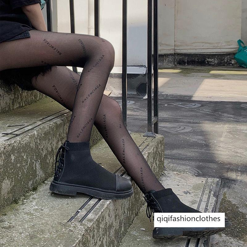 Black English Letter Silk Bas Bas Femmes Silk Silk Silk Silk Sexy Mode Brand Haute Long Tube Pantyhose Panyhose Spring et