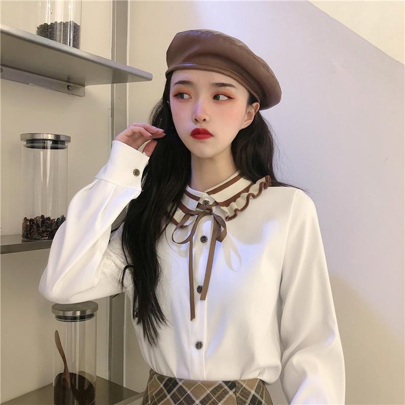 2021 новая кукла воротник лук с длинным рукавом дна рубашка новая женская блузка в колледже стиль цвета соответствия с однобортным