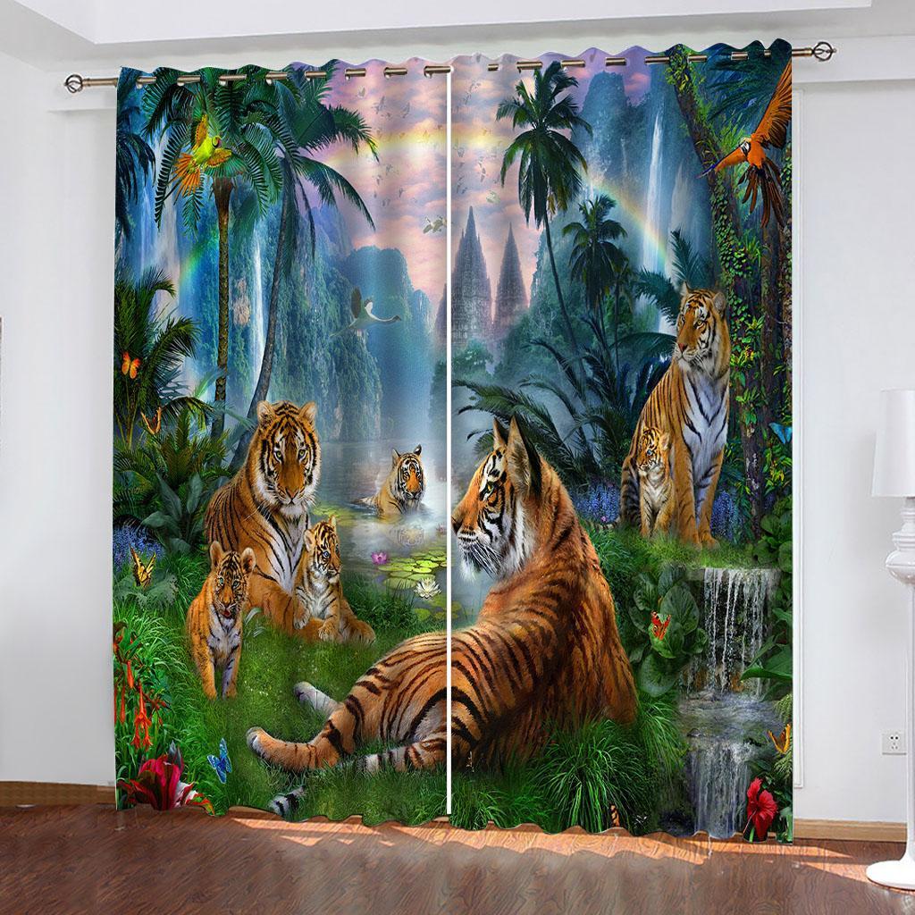 Foto de cortina 3D Personalizar Tamaño Hermoso paisaje Pintura Arco iris Animales de arco iris Cortinas de ventana para dormitorio Sala de estar