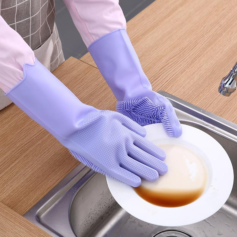 29 * 12 cm con pincel Seguridad Reutilizable Plato de silicona Guantes de lavado Guantes resistentes al calor Herramientas de limpieza de cocina 5 colores