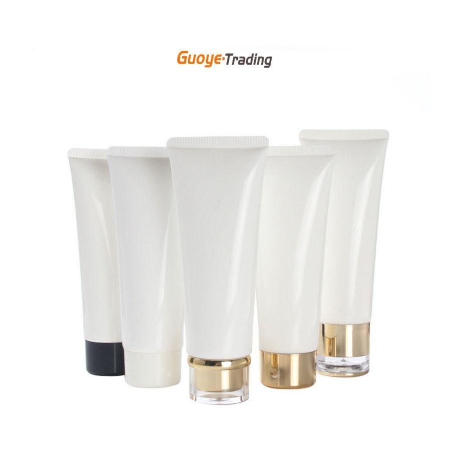 Tubes de nettoyage facial Tubes de lotion Bouteille de conditionneur 100g-120g Pure Blanc Golden Cap Cosmetic Sous-Pack Crème Conteneur Cosmétiques Emballage Divers modèles de Caps