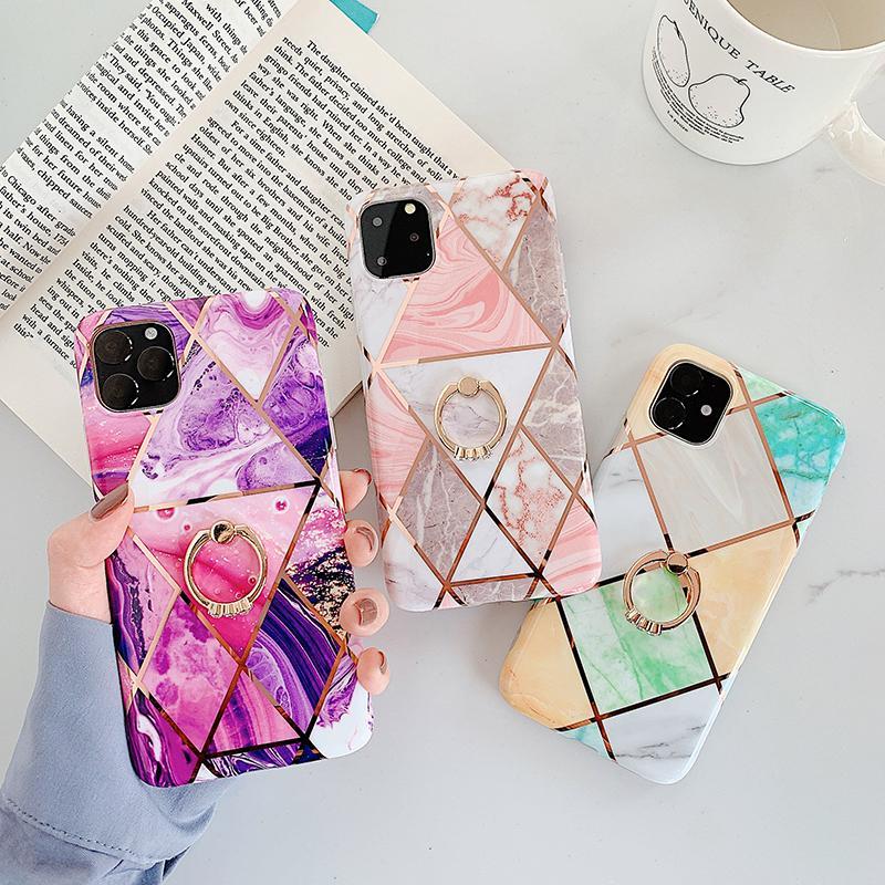 Telefone luxo iPhone Para Caso 12 11Pro Max XR X XS Max 6 6S 7 8plus luxo Galvanização Linha Geométrica Marble Diamond Ring Suporte Tampa
