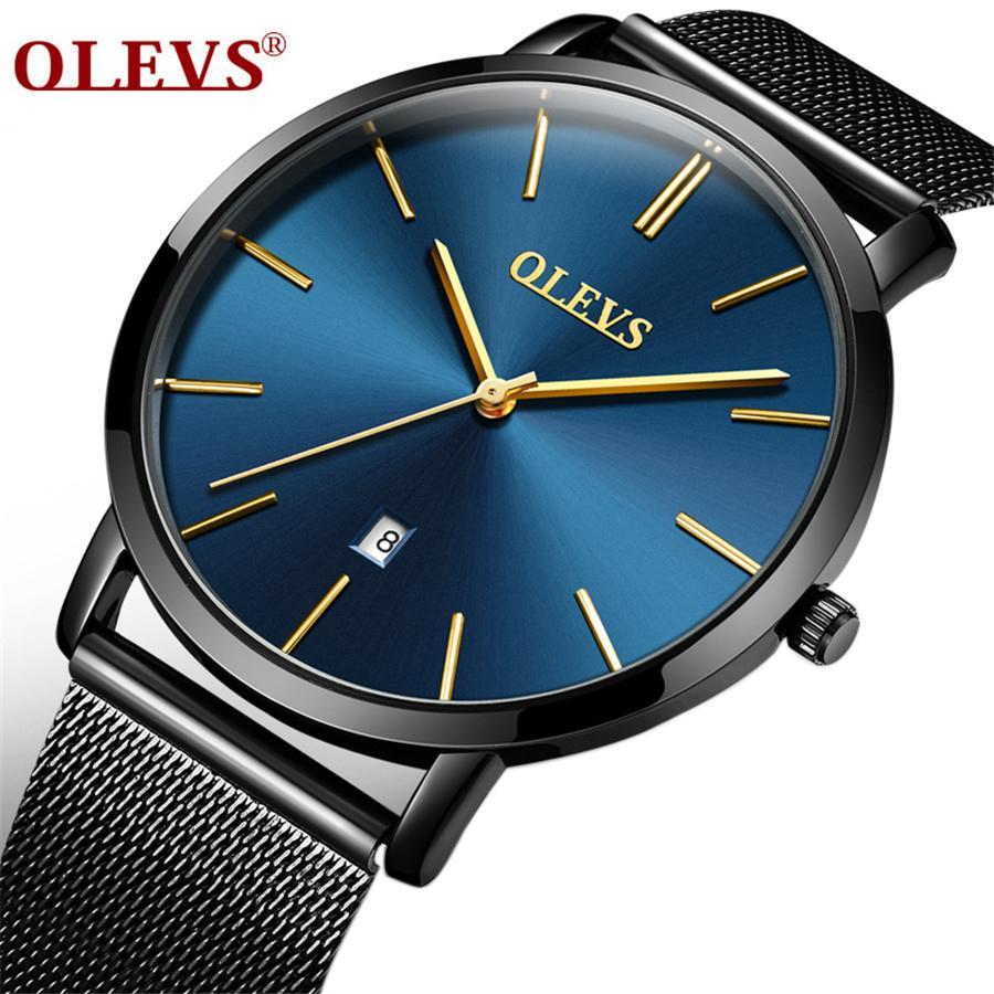 OLEVS Moda ultra delgada reloj de pulsera de pulsera de acero inoxidable reloj de negocios relojes de negocios a prueba de agua Hombres resistentes a los arañazos relojes
