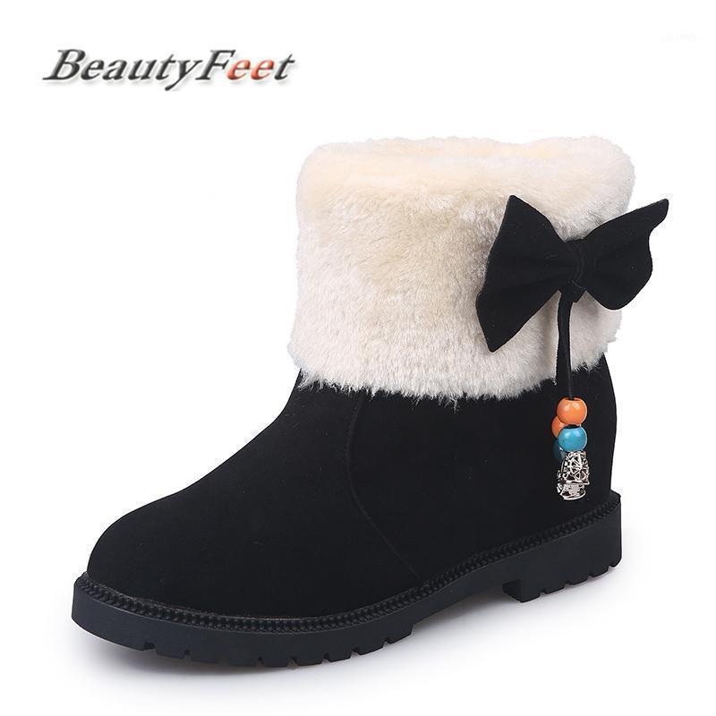 Aumento de las botas de nieve con peluche calientes zapatos de invierno botas de las mujeres rebaño arco nudo resbalón en el tamaño de tobillo rojo zapatos de tobillo rojo mujer bellezafeet1