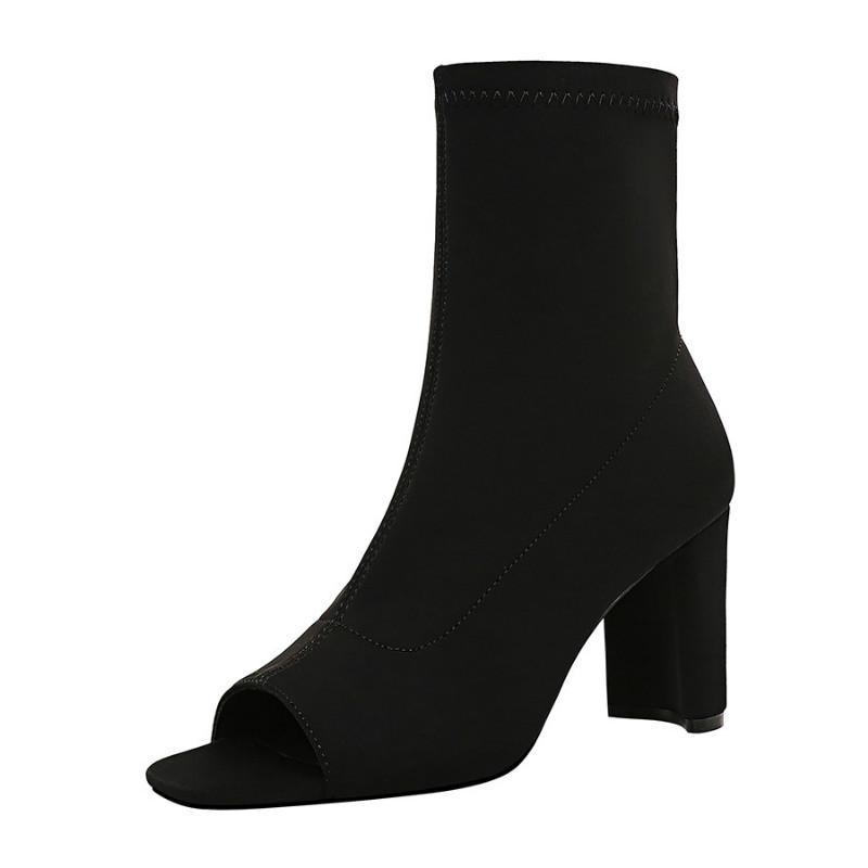 Meriahzheng Fashion Einfache Chunky High Heel Elastic Laica dünne reizvolle Nachtclub-Fisch-Mund-Schuhe Damen-Stiefeletten DS-8530-1