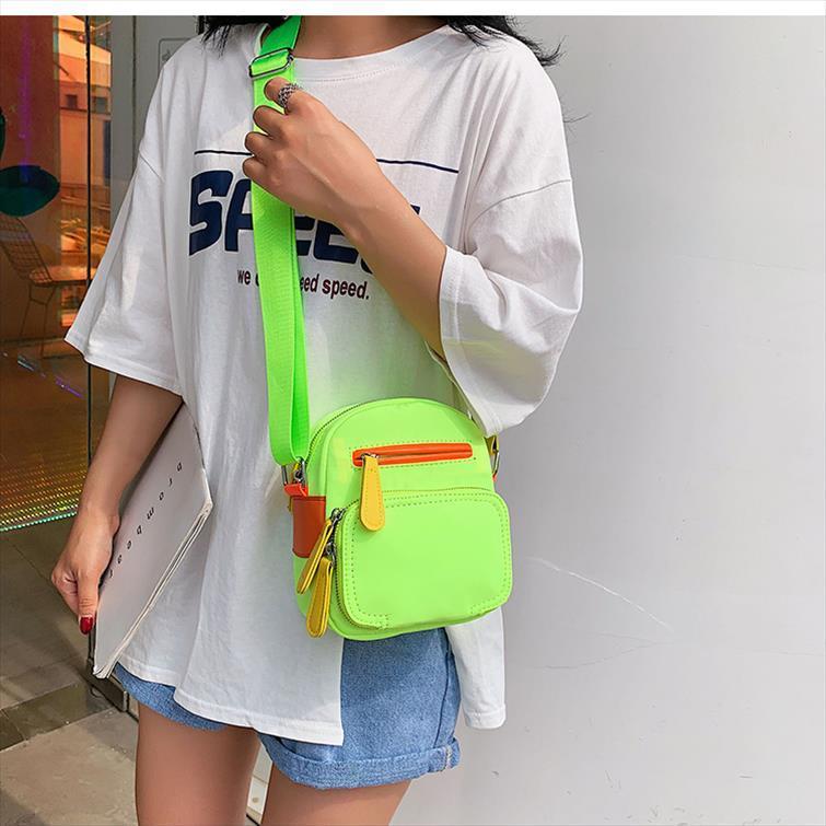 borse di Crossbody per le donne verde neon rosa sacchetti della chiusura lampo della tela di canapa a fluorescenza borse borse Borsa a tracolla casual Messenger Bag