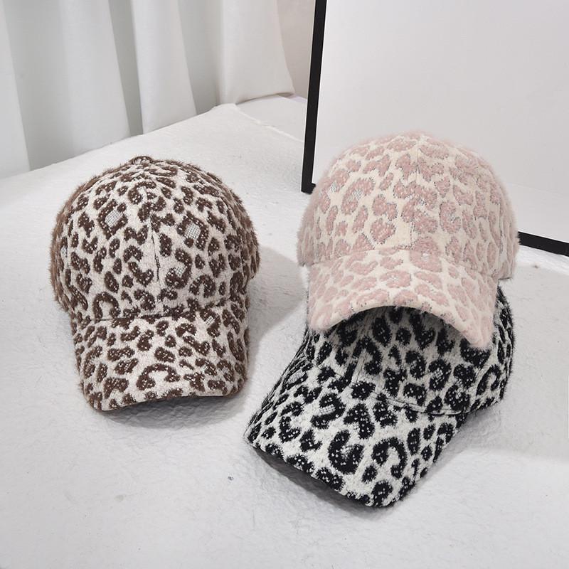 Kış Leopar Yün Beyzbol Şapka Moda Sıcak Leopar Açık Spor Kızlar Kadınlar için Kapaklar Kadın Parti Şapkalar Malzemeleri RRA3770