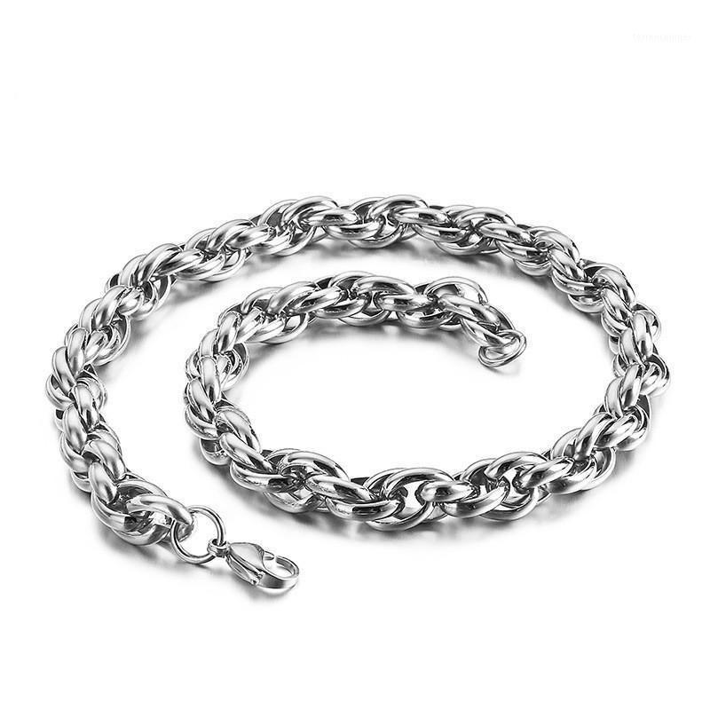 Ketten Titanstahl Doppel-Link-Kette Männer Halskette Hip Hop Twisted Halsketten Vielseitige Herrenstufe Performance Accessoire1